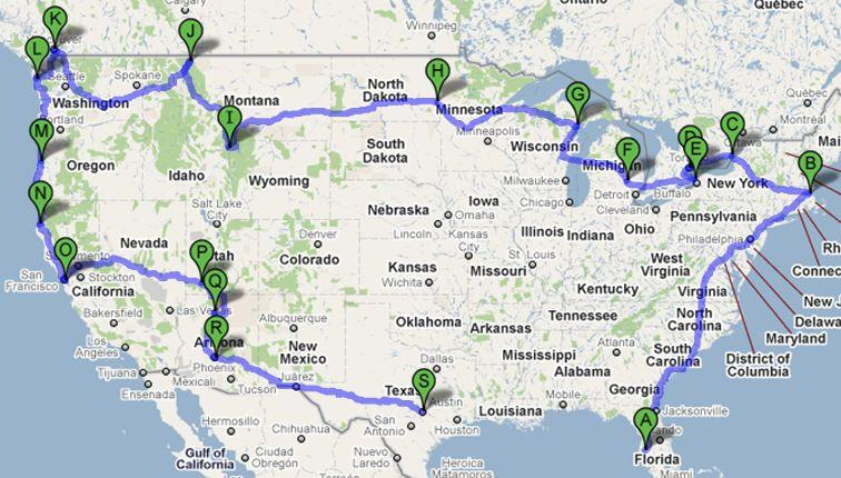 My approximate course around the US